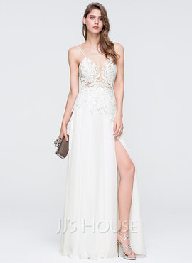 A-Line/Princess V-neck Floor-Length Chiffon Prom Dresses With Beading Sequins Split Front (018093846)