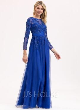 A-Line Scoop Neck Floor-Length Tulle Lace Bridesmaid Dress With Sequins (007206458)