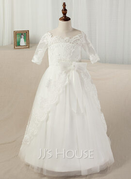 Floor-length Pageant Dresses - Satin Lace 1/2 Sleeves Bateau With Appliques