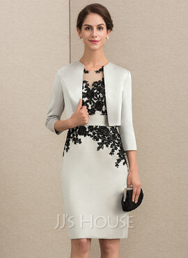 Sheath/Column Scoop Neck Knee-Length Satin Lace Mother of the Bride Dress With Beading Sequins (008164096)