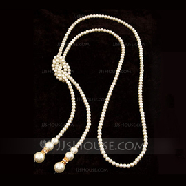 Gorgeous Alloy With Imitation Pearl Rhinestone Ladies' Fashion Necklace (011053820)