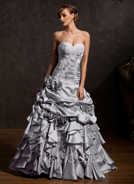 Ball-Gown Sweetheart Floor-Length Taffeta Quinceanera Dress With Appliques Lace Flower(s) Cascading Ruffles (021015143)