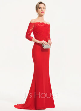Trumpet/Mermaid Off-the-Shoulder Sweep Train Chiffon Evening Dress (017186149)