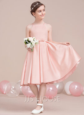A-Line Square Neckline Knee-Length Satin Junior Bridesmaid Dress With Bow(s) (009106847)
