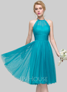 A-Line Scoop Neck Knee-Length Tulle Cocktail Dress With Ruffle (016110546)