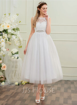 Ball-Gown/Princess Scoop Neck Tea-Length Tulle Wedding Dress With Beading Sequins