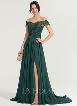 042152fe30d90 A-Line/Princess Off-the-Shoulder Sweep Train Chiffon Prom Dresses With  Sequins Split Front (018186896)