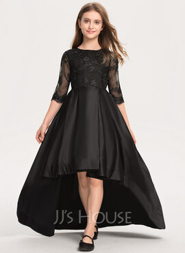 A-Line Scoop Neck Asymmetrical Satin Lace Junior Bridesmaid Dress With Ruffle (009208607)