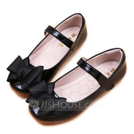Girl's Round Toe Closed Toe Patent Leather Flat Heel Sandals Flats Flower Girl Shoes With Bowknot Velcro (207170708)