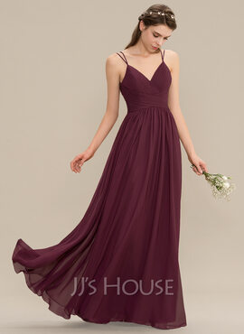 A-Line V-neck Floor-Length Chiffon Lace Prom Dresses With Ruffle (018229948)