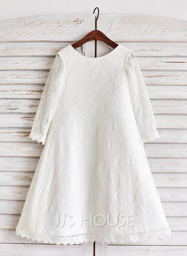A-Line/Princess Tea-length Flower Girl Dress - Lace Long Sleeves Scoop Neck (010091387)