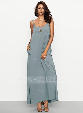Viscose With Resin solid color Maxi Dress (199170045)