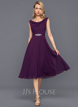 A-Line/Princess Cowl Neck Knee-Length Chiffon Cocktail Dress With Beading Sequins (270177330)