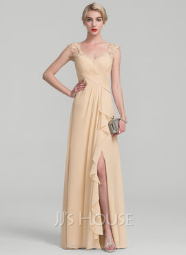 A-Line V-neck Floor-Length Chiffon Lace Evening Dress With Split Front Cascading Ruffles (017130702)