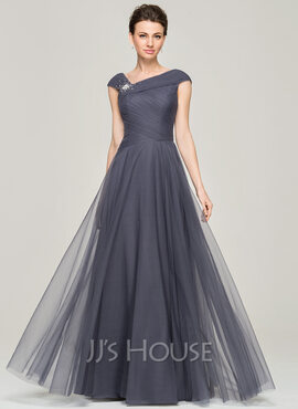 A-Line/Princess V-neck Floor-Length Tulle Mother of the Bride Dress With Ruffle Beading Sequins (008062861)
