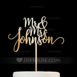 Personalized Mr. & Mrs. Acrylic/Wood Cake Topper (119187810)