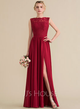 A-Line/Princess Scoop Neck Floor-Length Chiffon Lace Prom Dresses With Split Front (272184195)