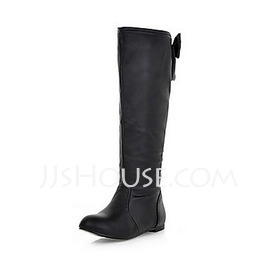 Leatherette Low Heel Boots Knee High Boots With Bowknot shoes (088013829)