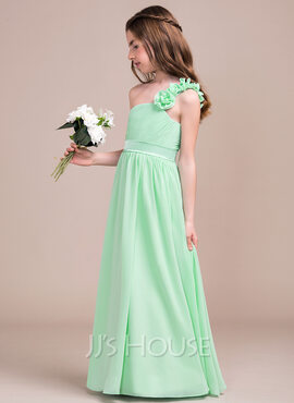 A-Line/Princess One-Shoulder Floor-Length Chiffon Junior Bridesmaid Dress With Ruffle Flower(s) (009081153)