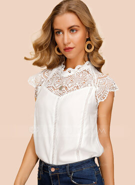 Cap Sleeve Polyester Round Neck Blouses (1003223589)