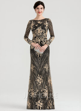 Sheath/Column Scoop Neck Floor-Length Sequined Evening Dress (017147959)