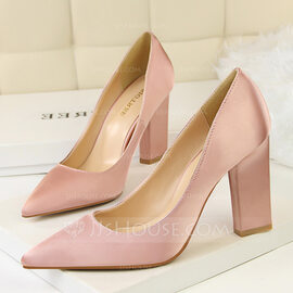 Women's Satin Chunky Heel Pumps Closed Toe shoes (085114800)