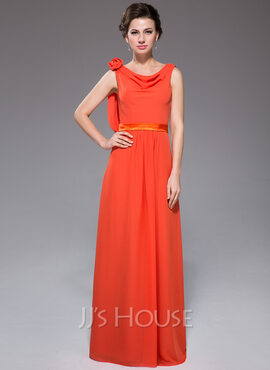 A-Line/Princess Cowl Neck Floor-Length Chiffon Holiday Dress With Ruffle Flower(s) (017041075)