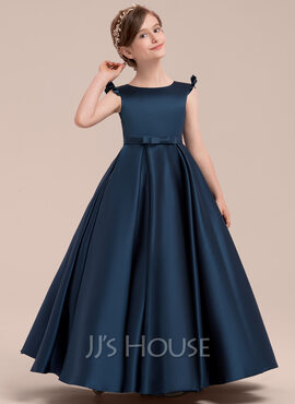 Ball Gown Floor-length Flower Girl Dress - Satin Sleeveless Scoop Neck With Bow(s) (010143250)