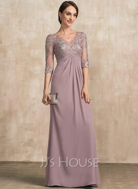 A-Line V-neck Floor-Length Chiffon Lace Mother of the Bride Dress With Ruffle (008217327)