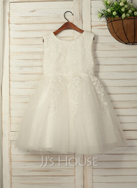 A-Line/Princess Knee-length Flower Girl Dress - Organza/Tulle Sleeveless Scoop Neck With Beading/Bow(s)