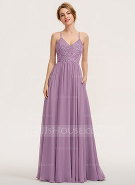 A-Line Sweetheart Floor-Length Chiffon Lace Bridesmaid Dress With Pockets (007190690)