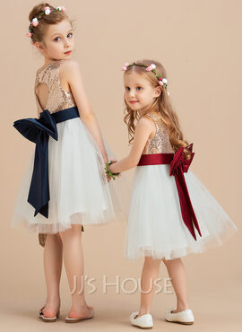 A-Line/Princess Knee-length Flower Girl Dress - Satin/Tulle/Sequined Sleeveless Scoop Neck With Sequins/Bow(s) (Undetachable sash) (010123031)