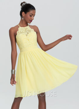 A-Line Scoop Neck Knee-Length Chiffon Homecoming Dress (022120493)