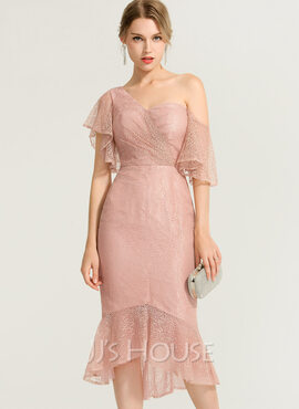 Trumpet/Mermaid One-Shoulder Asymmetrical Lace Cocktail Dress (016170891)