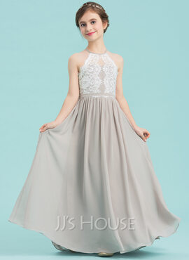 A-Line Scoop Neck Floor-Length Chiffon Junior Bridesmaid Dress (009149011)