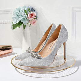 Women's Sparkling Glitter Stiletto Heel Closed Toe Pumps With Crystal (047190321)