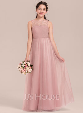A-Line Scoop Neck Floor-Length Tulle Junior Bridesmaid Dress With Ruffle (009130629)
