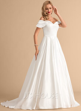 Duchesse-Linie/Princess Off-the-Schulter Hof-schleppe Satin Brautkleid (002215661)