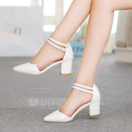 Women's Patent Leather Chunky Heel Sandals Pumps Closed Toe Mary Jane With Buckle shoes (085211583)