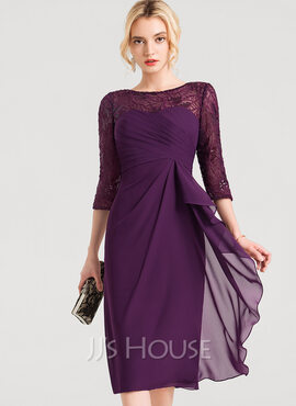 Sheath/Column Scoop Neck Knee-Length Chiffon Cocktail Dress With Lace Sequins Cascading Ruffles (016150202)