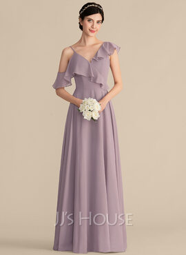 A-Line/Princess V-neck Floor-Length Chiffon Bridesmaid Dress With Cascading Ruffles (007165851)