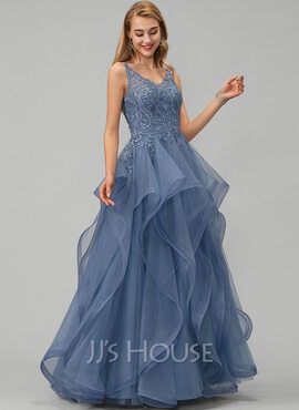 Ball-Gown/Princess V-neck Floor-Length Tulle Prom Dresses With Lace Beading Sequins (018220226)