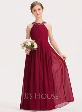 A-Line Scoop Neck Floor-Length Chiffon Junior Bridesmaid Dress With Ruffle Beading Bow(s) (009191701)