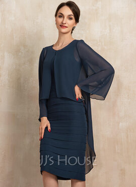 Sheath/Column Square Neckline Knee-Length Chiffon Mother of the Bride Dress With Cascading Ruffles (008217299)