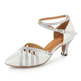 Women's Satin Sparkling Glitter Heels Pumps Ballroom With Ankle Strap Dance Shoes (053021523)