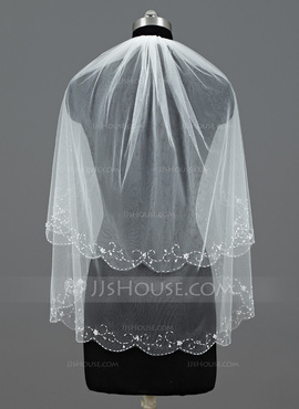 Two-tier Elbow Bridal Veils With Beaded Edge (006035488)