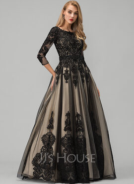 Ball-Gown/Princess Scoop Neck Floor-Length Tulle Prom Dresses With Beading (018220236)