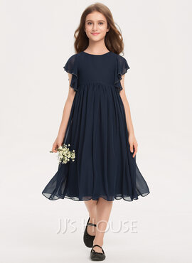 A-Line Scoop Neck Knee-Length Chiffon Junior Bridesmaid Dress With Beading (009208595)