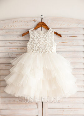 Empire Knee-length Flower Girl Dress - Satin/Lace/Cotton Sleeveless Scoop Neck (010092642)