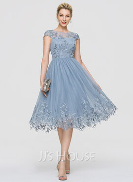A-Line Scoop Neck Knee-Length Tulle Homecoming Dress With Sequins (022204168)